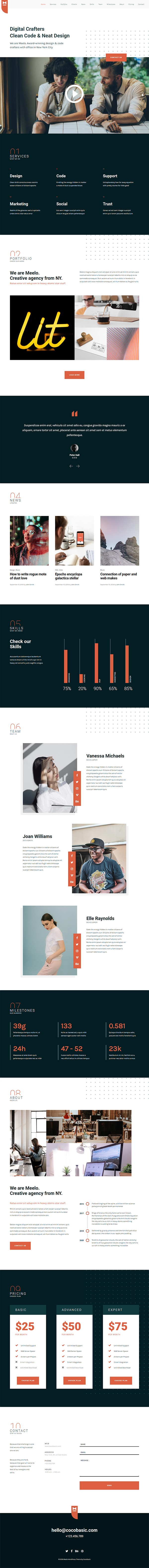 Meelo - Corporate One Page WordPress Theme