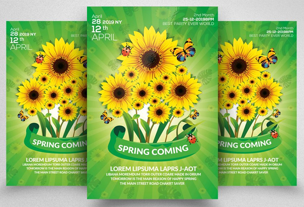 Spring Season Flyer With Sunflowers