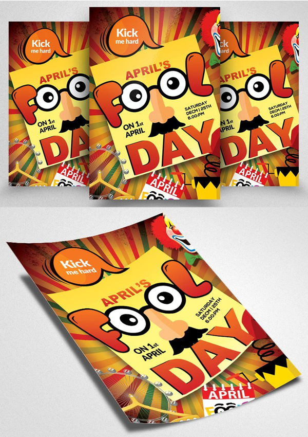 Kick Me Hard Fool Day Flyer Template