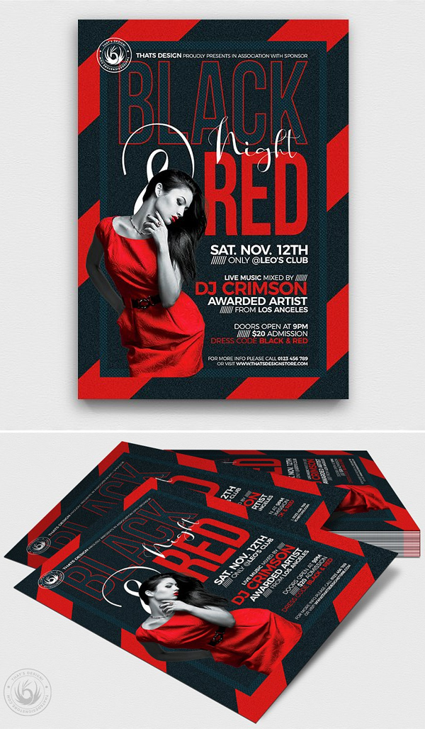 Black and Red Flyer Template