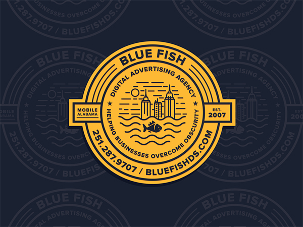 Blue Fish Badge Logo Design