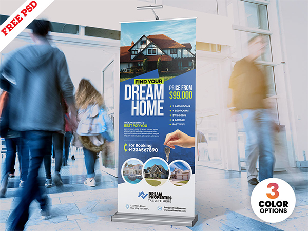 Real Estate Roll Up Banner PSD