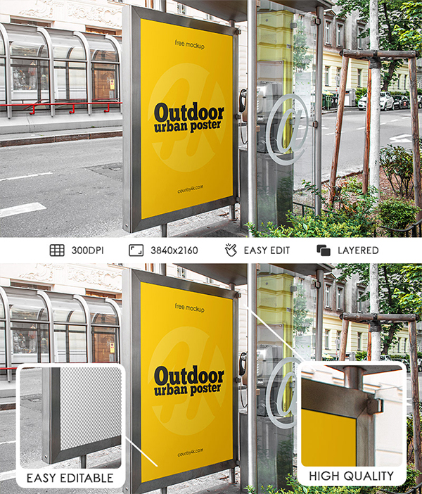 Free Outdoor Urban Poster PSD MockUp