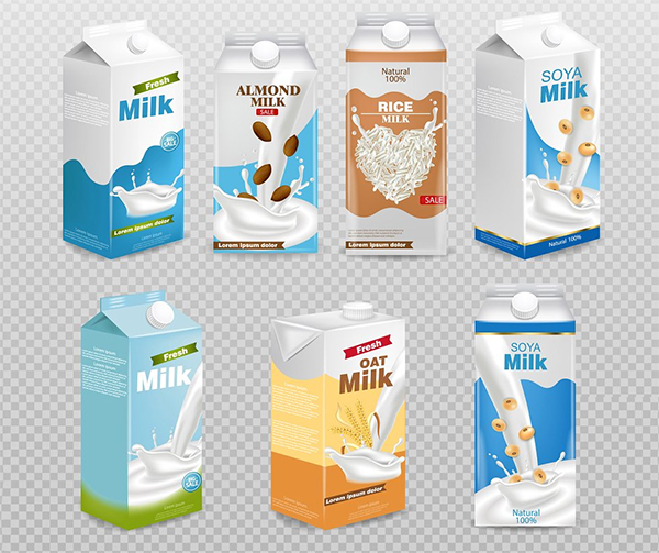 Milk Boxes Collection Set Mockup