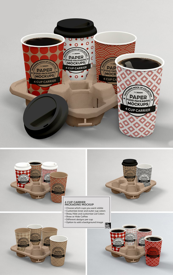 Cup Carrier Packaging Mockup