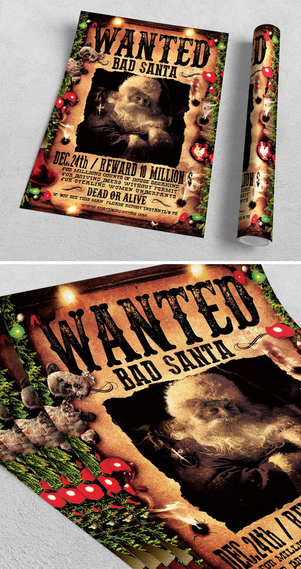 Wanted Bad Santa Flyer Template