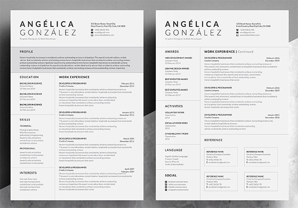 Creative & Professional Word Resume