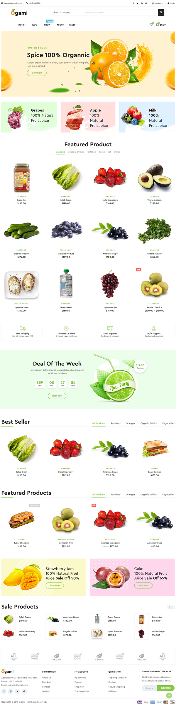 Ogami - Organic Store & Bakery WordPress Theme