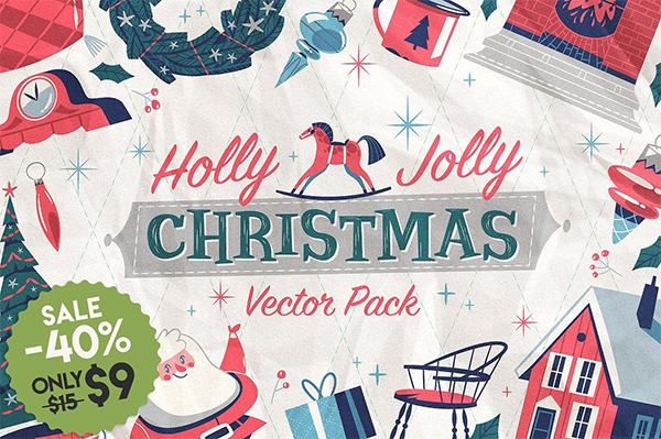 Holly Jolly Christmas Vector Pack
