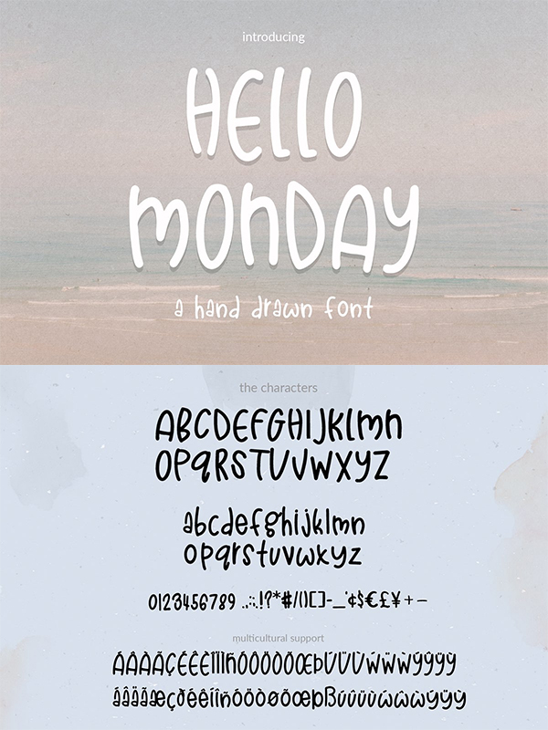 Hello Monday Hand Drawn Font