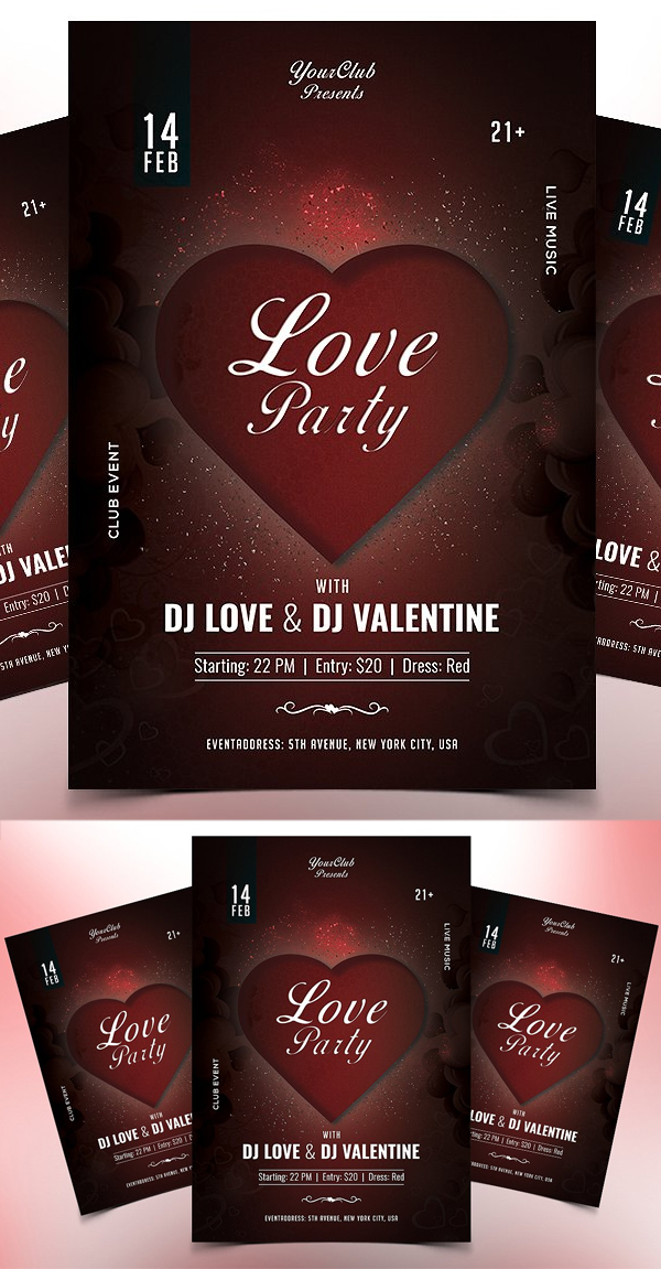 Love Party PSD Flyer Template