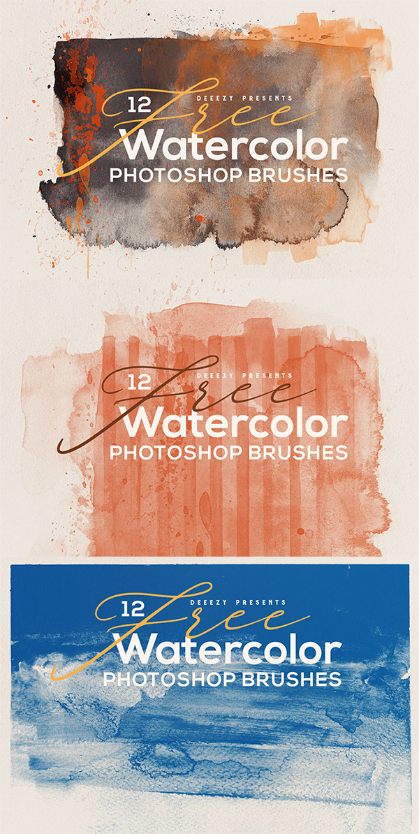 Freebie : 12 Creative Abstract Watercolor Photoshop Brushes