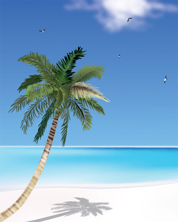 How to Create Coconut Tree & the Beach