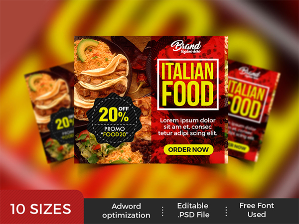 Restaurant Advertising Banners PSD
