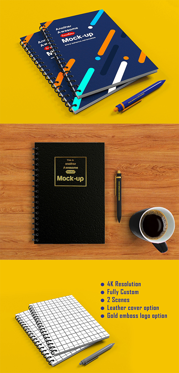 Free Download Awesome Notebook Mock-up (2 Scenes)