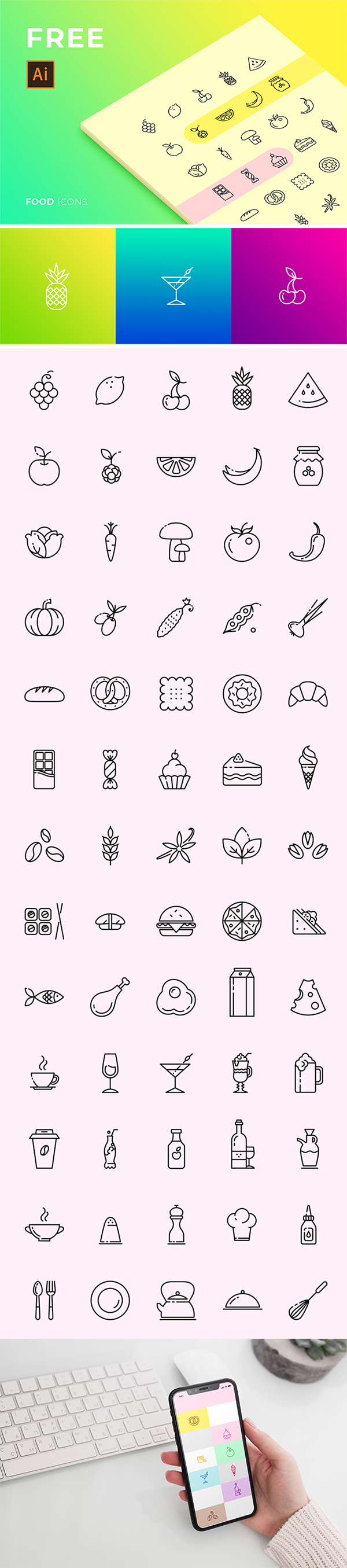Free Download Creative Food Icon set For Designers (Vector)