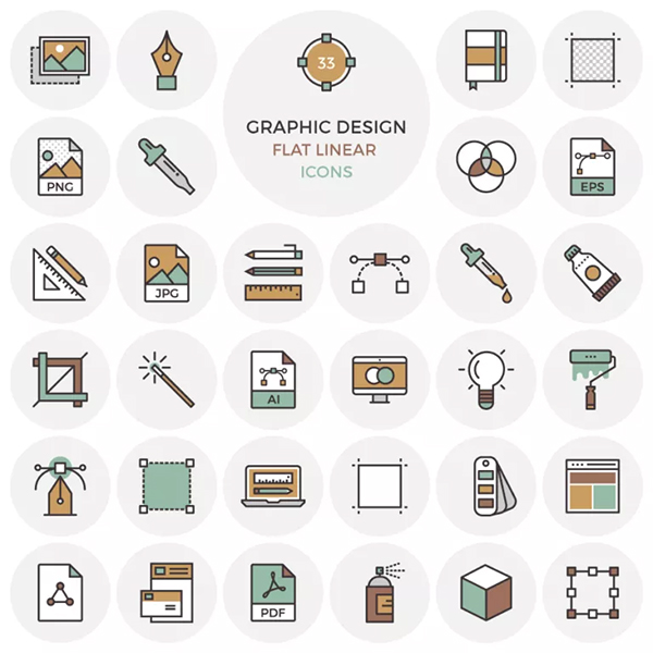 33 Free Flat Graphic Design Icons