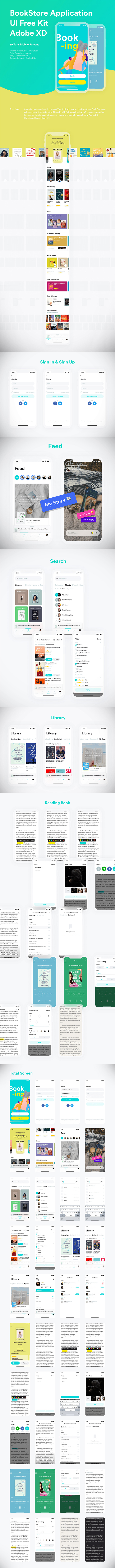 Freebie : Creative BookStore Application UI Kit (39 Mobile Screens)
