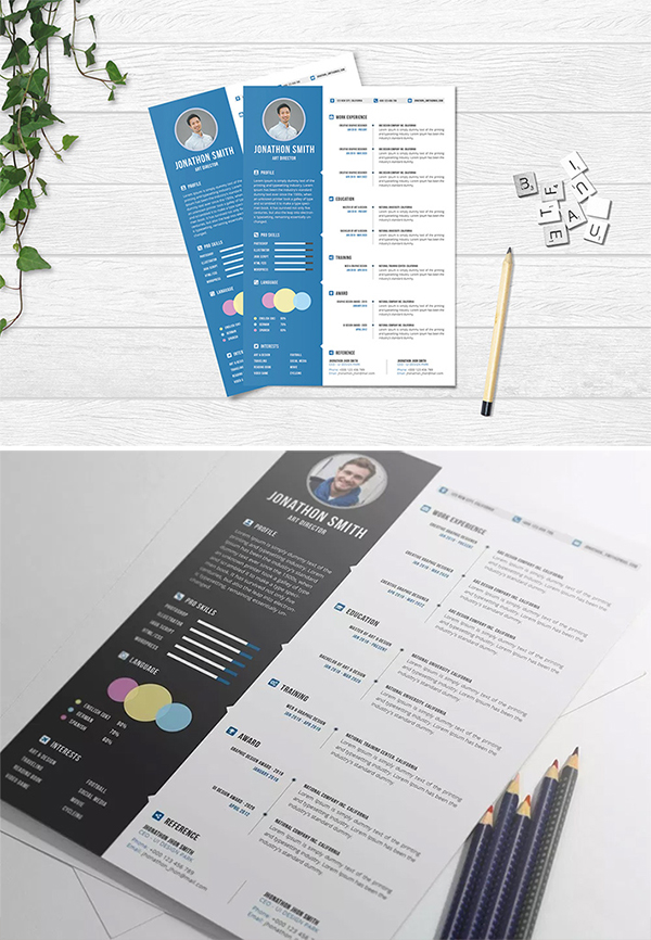 Freebie : Creative Professional Resume / CV with Cover Letter (PSD)