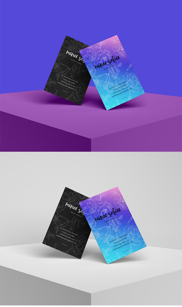 Free Download Fresh Brand Business Card Mockup (PSD)