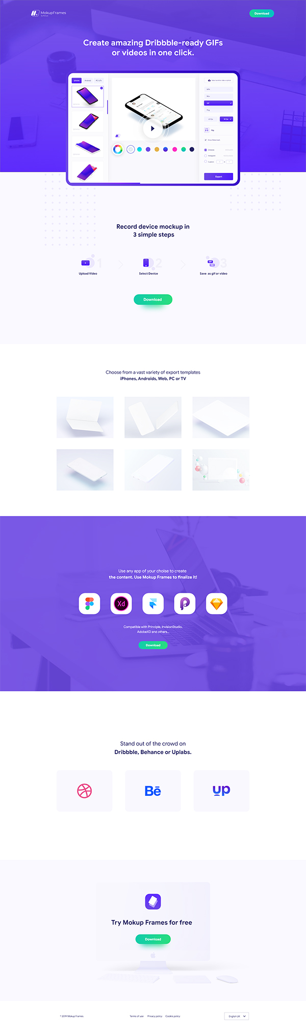 Mokupframes Landing Page and App Design