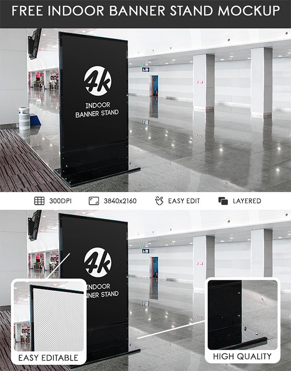 Free Indoor Banner Stand PSD MockUp