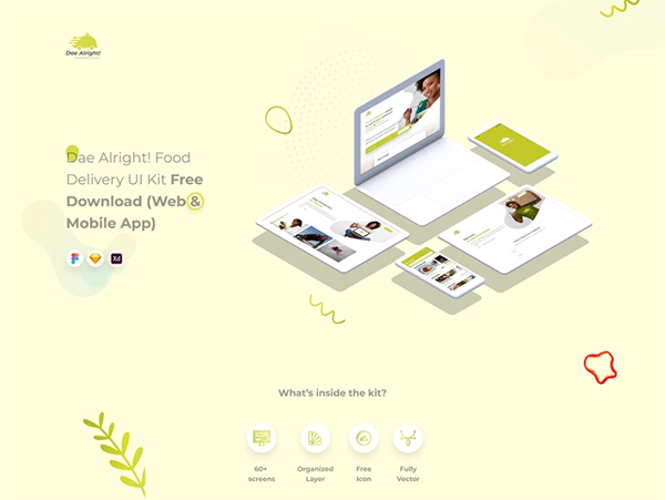 Free Restaurant Web and Mobile App Template UI Kit