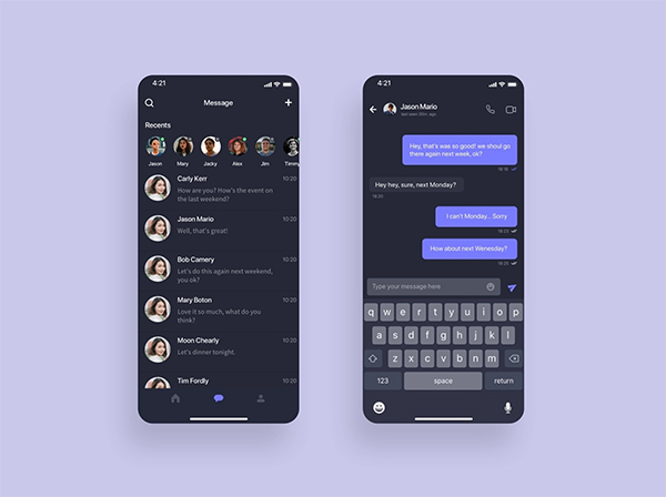 Message App UI Design Freebie