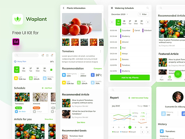 Waplant Plants Mobile Apps Free UI Kit