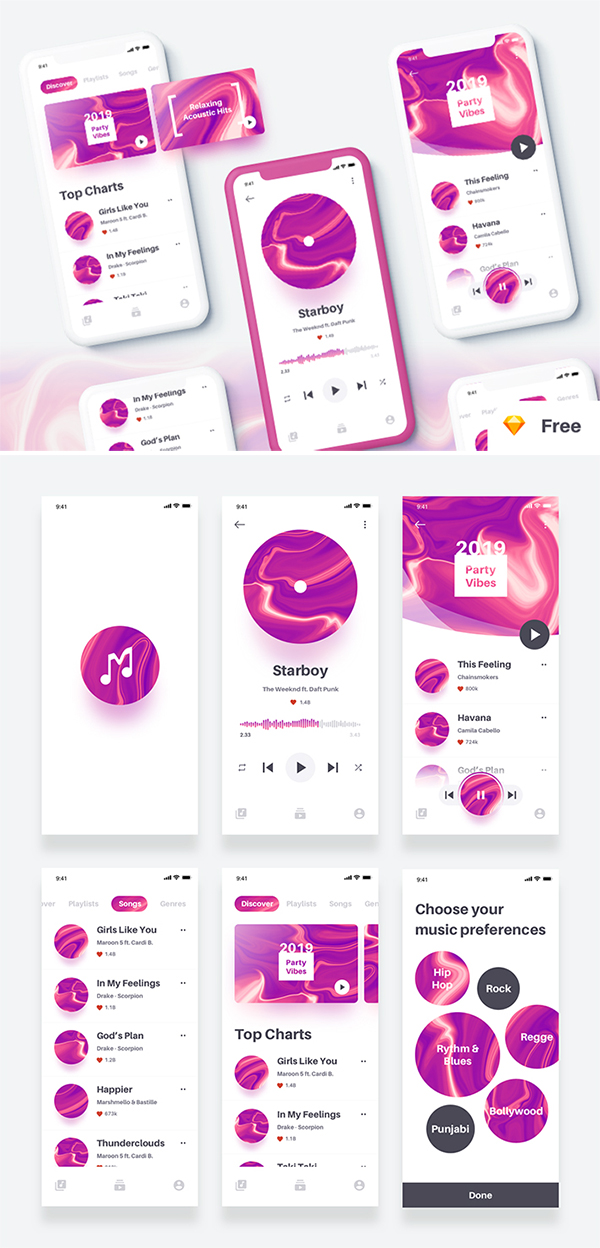 Free Download Elegant Music App Design (UI Kit)
