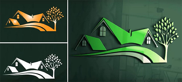 Creative Green House Logo Design