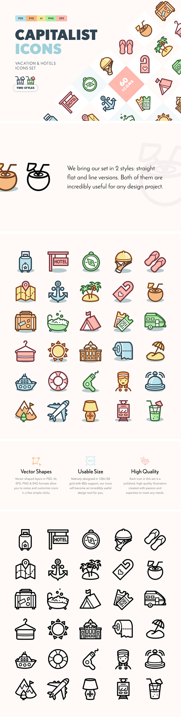 Capitalist Vacation & Hotels Icons