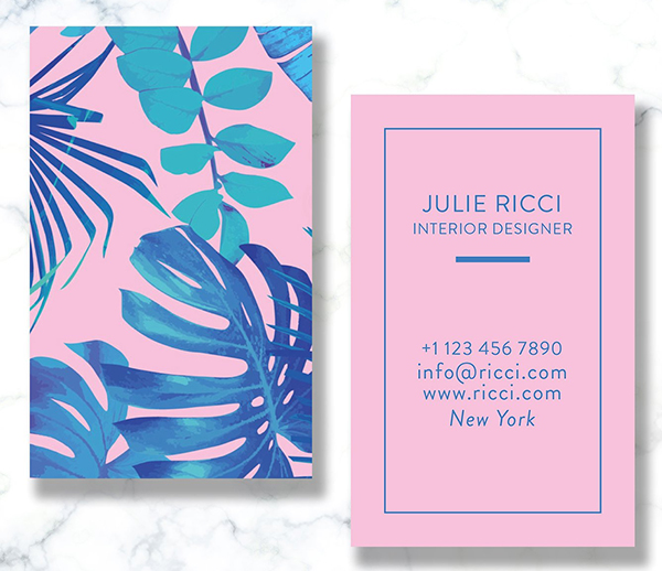 Blue Purple Exotic Business Card
