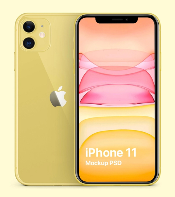 iPhone 11 Yellow Mockup PSD Freebie