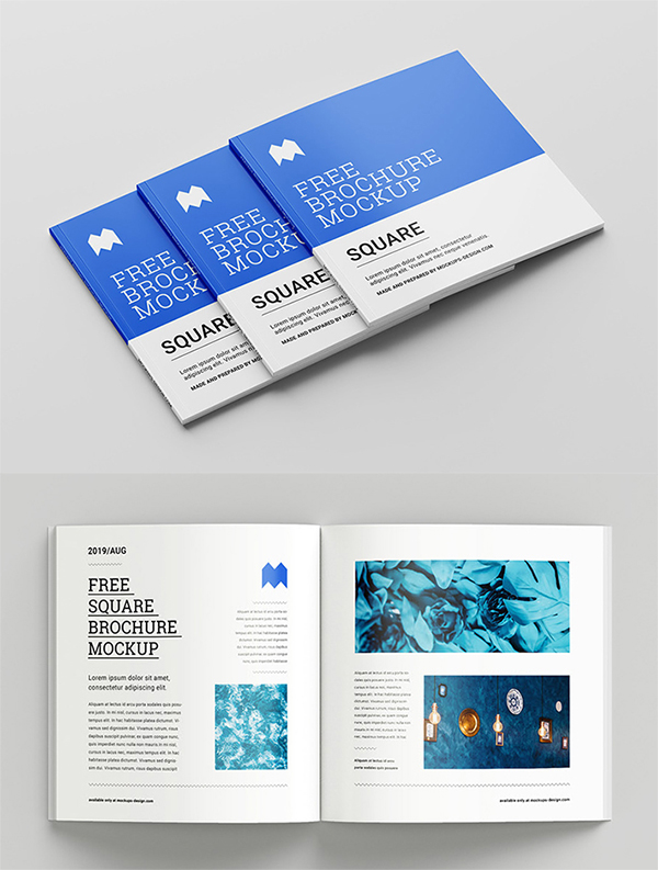 Free Download Elegant Square Brochure PSD Mockup