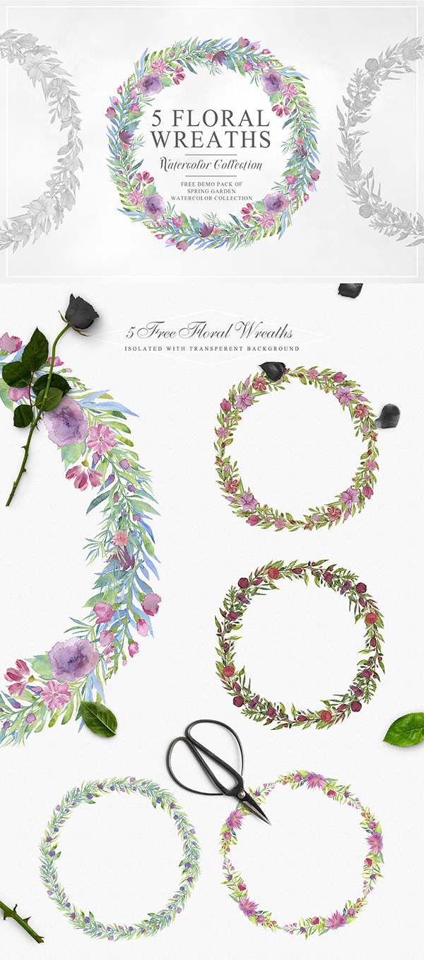Free Beautiful Watercolor Floral Wreath