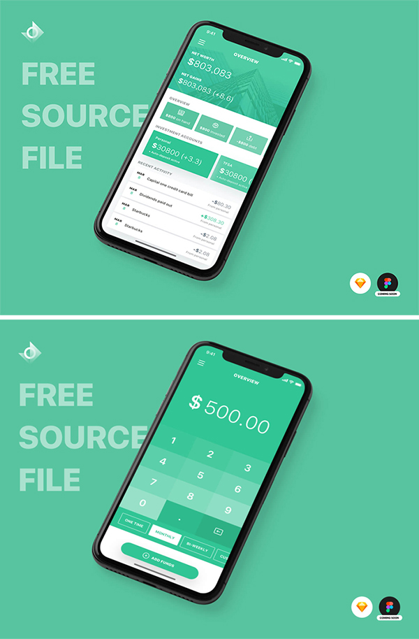 Free Download Creative iPhone X Finance App Design For Designers