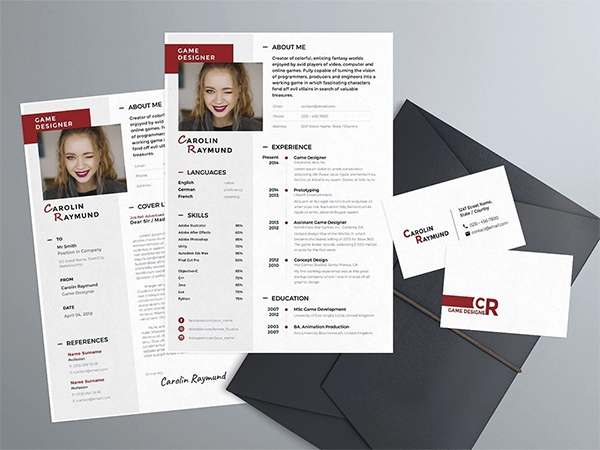 Free Resume Template With Cover Letter And Business Card