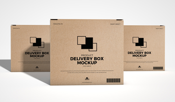 Free Product Delivery Box Mockup For Carg
