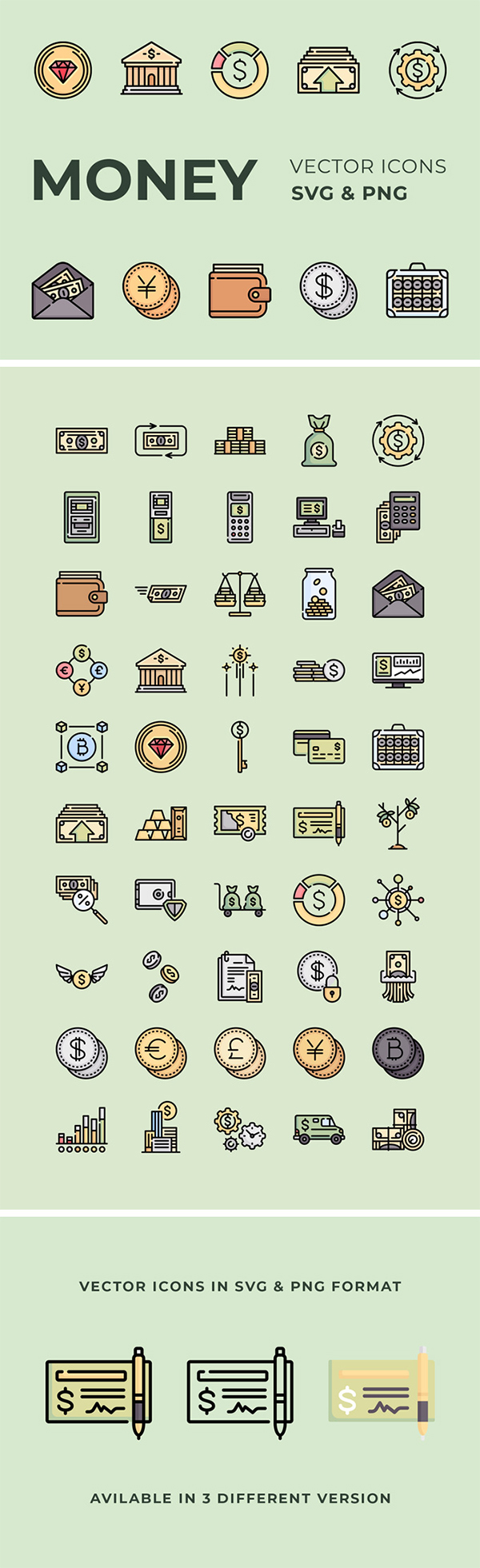 Money Vector Icons Set