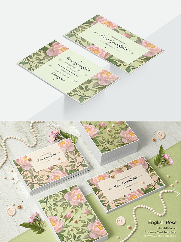 English Rose PSD Business Card