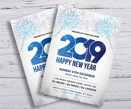 Stylish New Year Flyer Templates (2019)