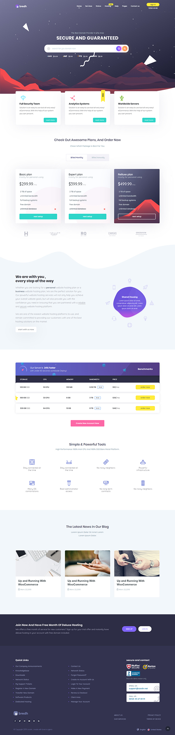 Bredh - Multipurpose Web Hosting with WHMCS Template