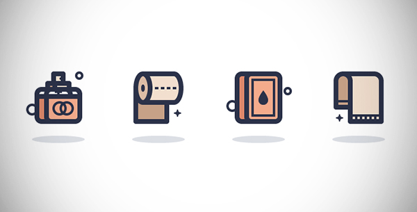 Illustration: Create a Set of Bathroom icons