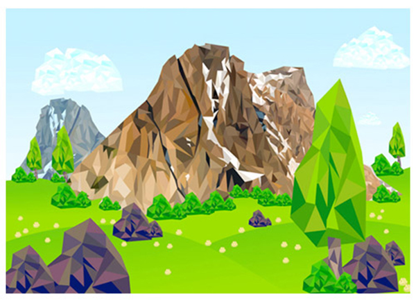 Low Poly Mountain with Background