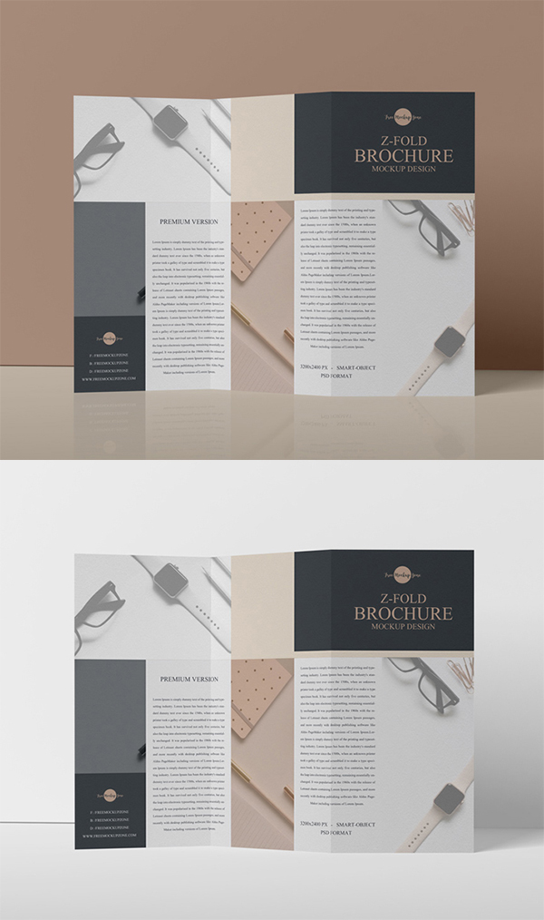 Free Download Creative Z – Fold Brochure PSD Mockup (2019)