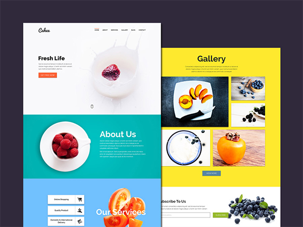 Free Flat PSD Template for Food Website