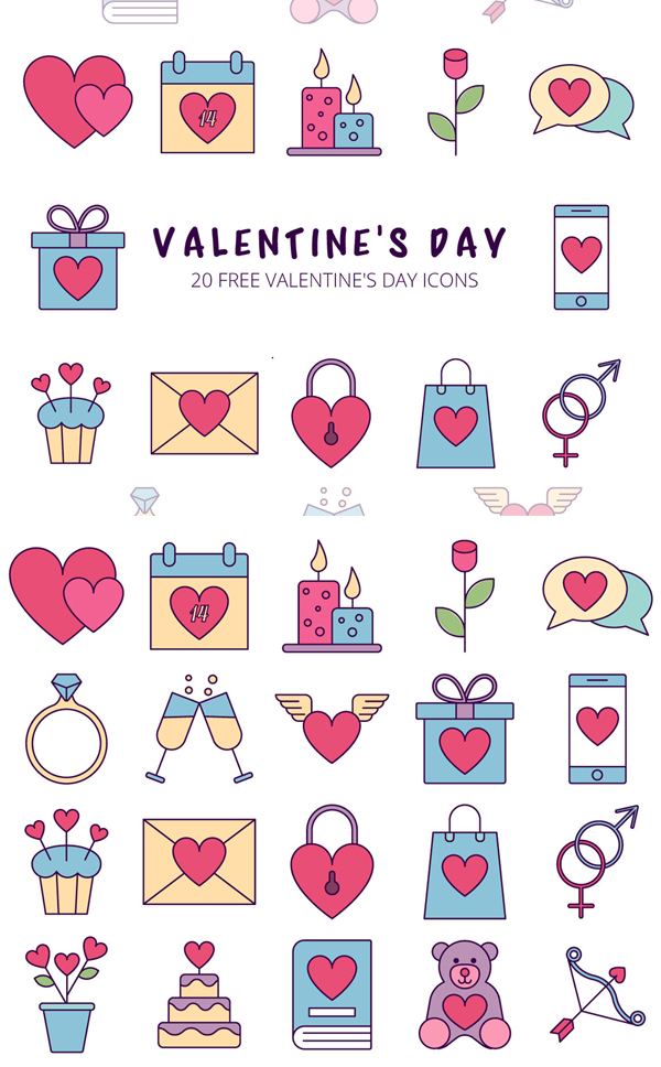 Valentines Day Vector Free Icon Set