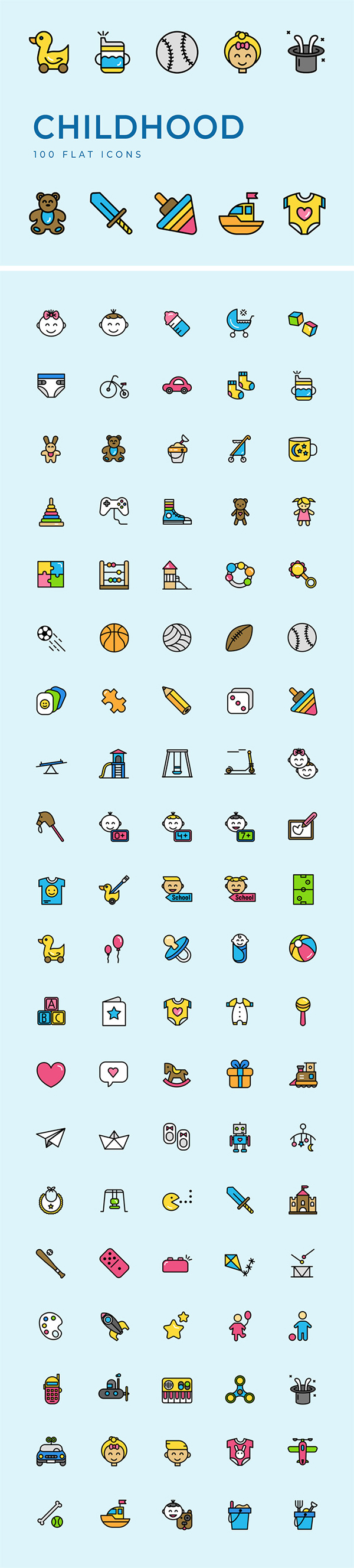 Childhood Flat Icons Set