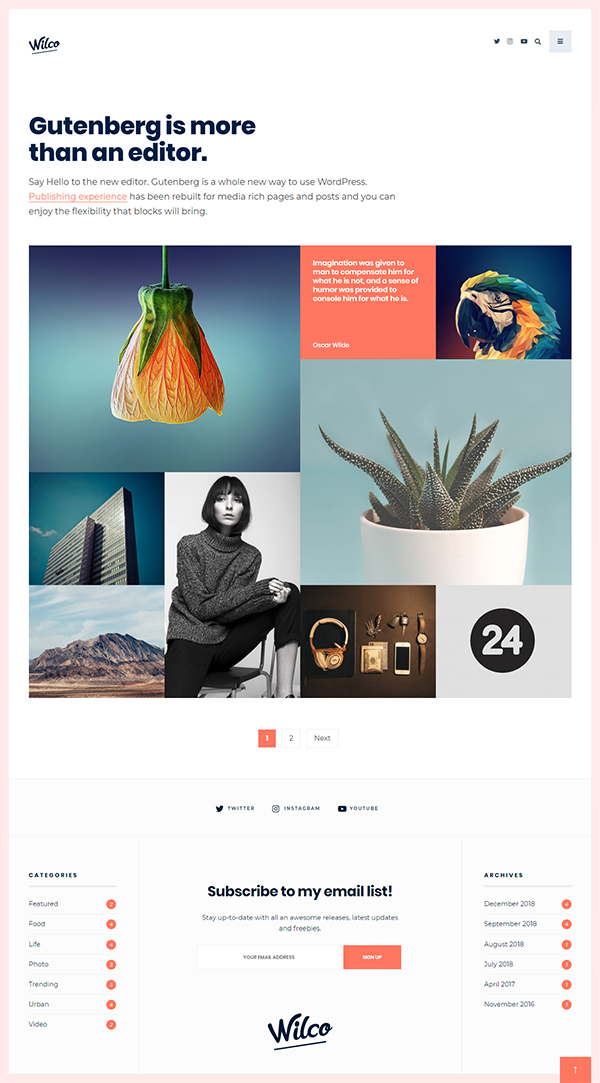 Wilco - Content Focused, Typography Blog Theme